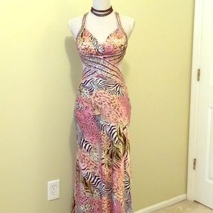La femme full length sexy animal print gown Size 4